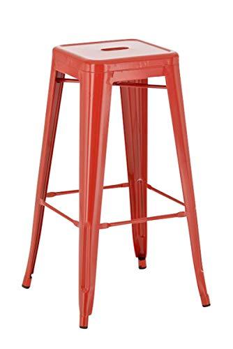 CLP Metall-Barhocker Joshua mit Fußstütze I Stapelbarer Tresenhocker mit Einer Sitzhöhe von: 77 cm I erhältlich, Farbe:rot