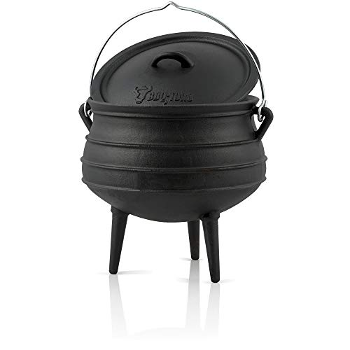 BBQ-Toro Potjie I Hierro Fundido I 8 litros I Olla I Pre-Sazonado I Horno Holandés Sudafricano