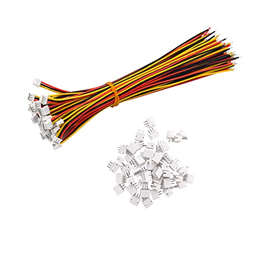 YIXISI 100 piezas Mini Micro ZH 1.5mm 3-Pin 15cm JST Connector Plug con Wires Cables