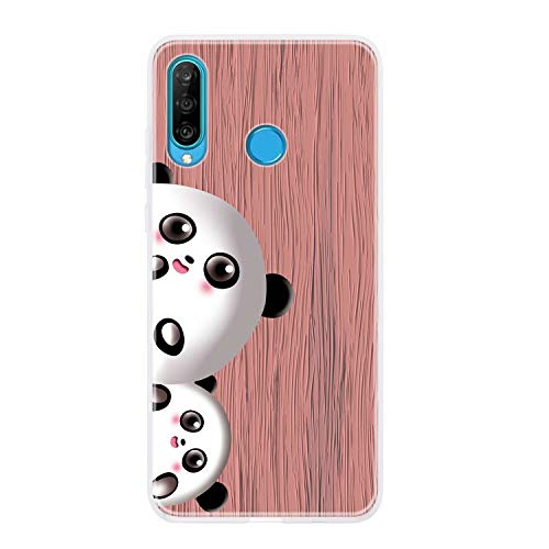 Miagon Wood Grain Case for Huawei P30 Lite,Ultra Thin Soft Silicone Cover with Cute Panda Pattern Protective Phone Back Bumper,Pink