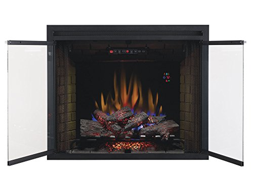 ClassicFlame 39EB500GRS 39' Traditional Built-in Electric Fireplace Insert with Glass Door and Mesh Screen, Dual Voltage Option