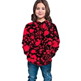 YongColer Teen Boys Girls Hoodies with 3D Print Graphic Colorful Deisgn Sweatshirt for Kids with Pocket, Classic Horror Blood Splatter Black, L