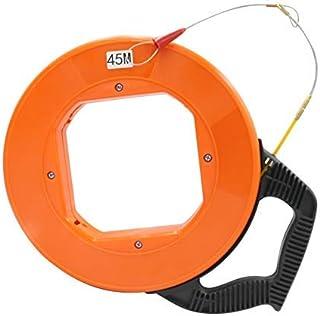 YaeGarden Fiberglass Electrical Fish Tape Reel Draw Wire Tape Fiberglass Low-Friction Fish Tape, 4mmx45m(150FT), with Ergo...