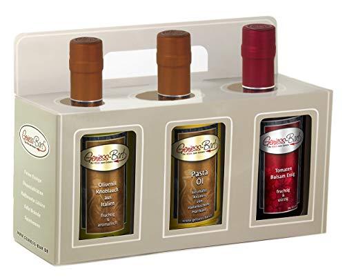 Geschenkbox 3x 0,35L Knoblauch Olivenöl / Pasta-Öl / Tomaten Balsam Essig Manufaktur Qualität