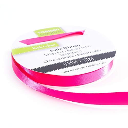 Vaessen Creative 301002-2007 Satinband Pink, 9 mm x 10 Meter, Schleifenband, Dekoband, Geschenkband und Stoffband für Hochzeit, Taufe und Geburtstagsgeschenke, 9MM