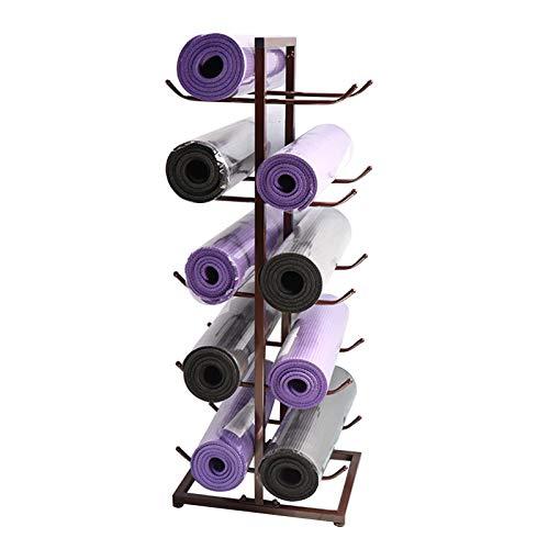 Soporte para Esterilla de Yoga de Metal Premium 5 Capas, Estante de Almacenamiento de Rodillos de Espuma para 10 Colchonetas de Ejercicio, Ahorro de Espacio