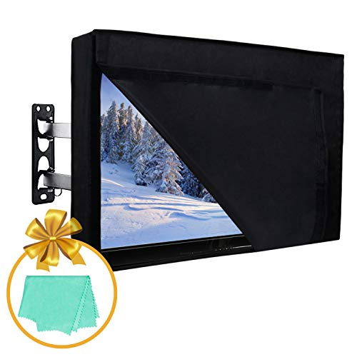 40-42 inch Outdoor TV Cover with Front Flap for Watching TV on Rainy Days, Convenient Use without Remove, Durable TV Cover with Free Cleaning Cloth, Black