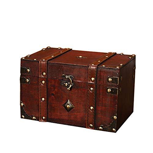POFET Caja de almacenamiento de madera con cerradura de metal vintage Caja de regalo para cofre organizador de tesoros de joyería - Cuadrada