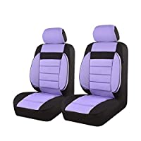 New Arrival- CAR PASS 6PCS Elegance Universal Two Front Car Seat Covers Set,Foam Back support,Airbag Compatible(Black And Purple)