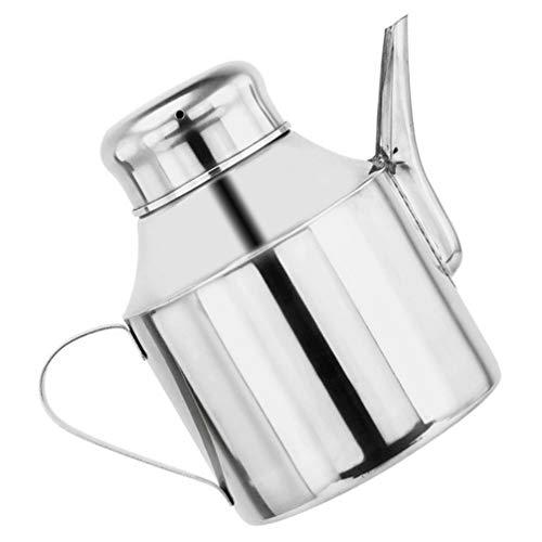 BESTonZON Oliedrizzler kan roestvrij staal soja saus azijn olie waterkoker glas huishouden specerijen dispenser fles voor thuis keuken 400 ml