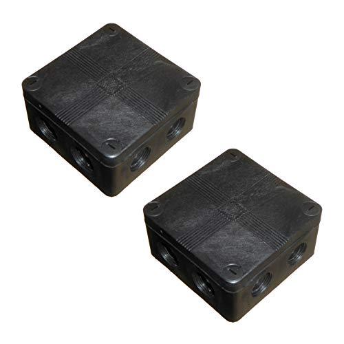 Abzweigkasten IP66, wasserdicht, 91 x 47 mm, mit Verbindungsblöcken und weichen Ausstoßen, Schwarz, 2 Stück