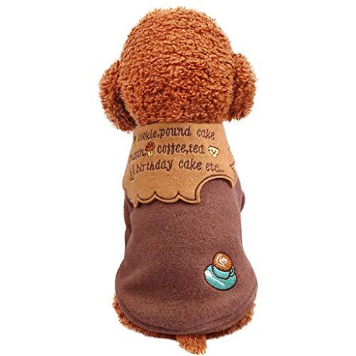 Baohooya Ropa Perro Pequeo Invierno para Yorkshire Chihuahua - Bizcocho de Chocolate Disfraz Mascotas Perros Accesorios Ropa(Caf,S)