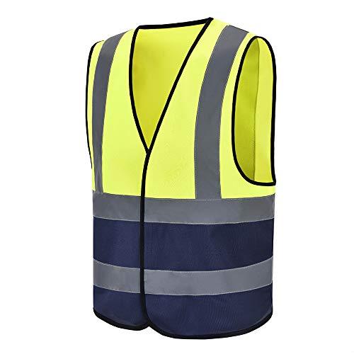 Auto Warnweste, Sicherheitsweste, Pannenweste für Auto, Fahrrad, Waschbar, arbeschutzkleidung (L, Gelb& Marine)