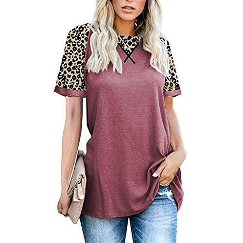 YYH Dames T-shirt Luipaard Print Tops Korte Mouw Crew Neck T Shirt Basic Casual korte mouw Shirt 2XL roze