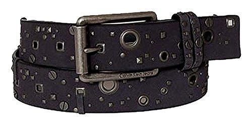 Calvin Klein Ceinture unisex leather w holes pattern grey 80cm