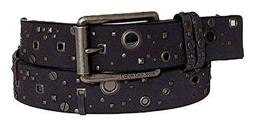 Calvin Klein Ceinture unisex leather w holes pattern grey 32