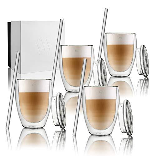 ANWA Set 4 Doppelwandige Thermo-Gläser (350ml) inkl. 4 Glas-Deckeln & 4 Glas-Strohhalmen, ideal für Kaffee/Tee/Latte Macchiato/Cappuccino/Cocktails