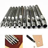10Pcs Leather Hole Punch Cutter 0.5mm-5mm Leather Working Tools for Leather Watch Bands Belts Canvas Paper Plastics Round Hollow Hole Punch Cutter Tool