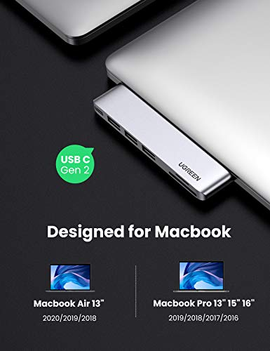 UGREEN USB C Hub Adapter kompatibel mit MacBook Pro 16 Zoll, MacBook Pro 13 2020, MacBook Air 2019 usw. Thunderbolt 3 Adapter mit 8K Video, USB A 3.0, Kartenleser, 100W Power Delivery (Spacegrau)