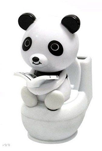 We pay your sales tax Panda Reading on The Toilet Solar Toy Home Car Decoration Gift