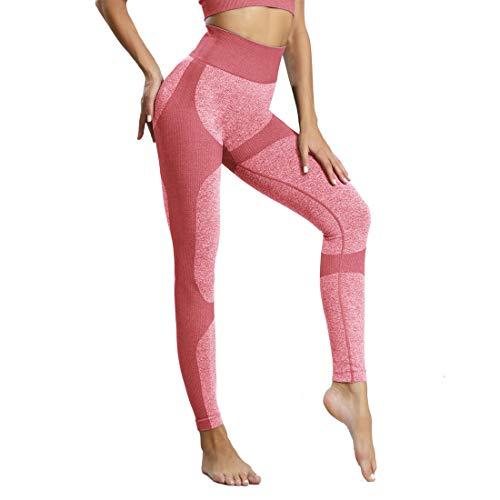 Leggings Deportivo para Mujer Leggings Apretado Leggings de Cadera Pantalón Largo Media Cintura Nalgas Respingadas para Yoga Gimnasio Fitness (S, Rosado)