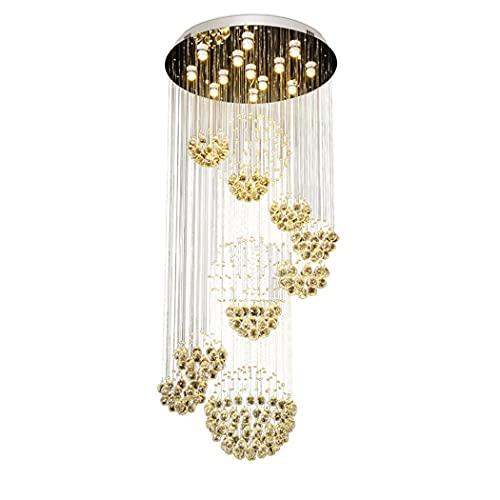 huasa Lámpara de Techo de Cristal Lámpara de Araña Colgante Gota de Lluvia Porta lámpara,K9 Lámpara de Araña de Cristal de Acero Inoxidable con Colgante,para escaleras,Cocina,Comedor,60 * 200