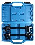 LLCTOOLS Juego de tensores de muelle de coche (2 piezas, tensor de muelle con maletín, 300 mm, máx. envergadura 260 mm, incluye gancho forjado y tornillo central endurecido)