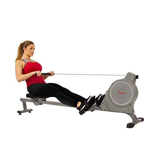 Sunny Health & Fitness Magnetic Rowing Machine Rower, 5.5lb Flywheel and LCD Monitor with Device Holder - SF-RW5885, Gray