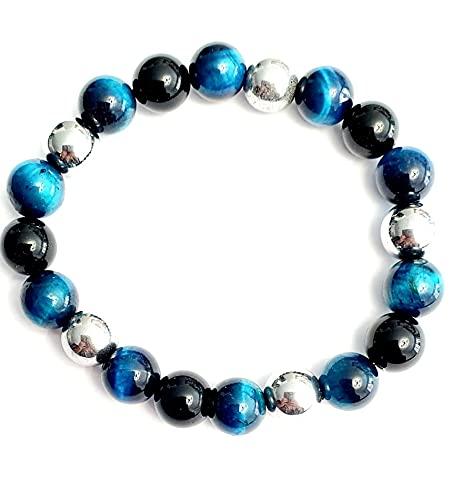 Bracelet triple protection: oeil de faucon, obsidienne, Hématite, 10mm