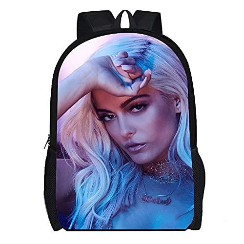 DBCJVB Mochila de moda con estampado de color a prueba de agua Tela Oxford 40x30x15cm Música Bebe Rexha Mochila unisex mochila informal