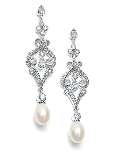 Mariell Vintage Cubic Zirconia Rhodium Scroll Bridal Earrings with Genuine Freshwater Pearl Drops