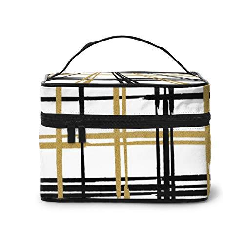 Bolsas de cosméticos de Viaje Tartán Abstracto a Cuadros Bolsa de Maquillaje Multifuncional Organizador de cosméticos y Soporte de tocador