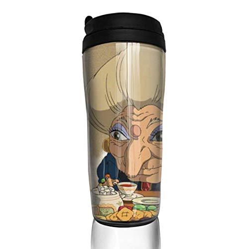 AOOEDM Coffee cup Taza de café Spirited Away Botella con aislamiento al vacío de doble pared Botella portátil para exteriores Trave de grado alimenticio ABS Vasos Tazas de viaje 12 oz (350 ml)