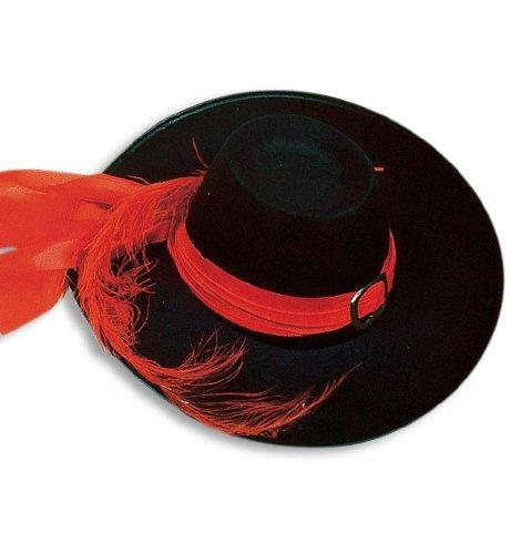 PARTY DISCOUNT ® Musketierhut groß m Band,Schnalle u.Feder,schwarz Musketier Hut Gr.58