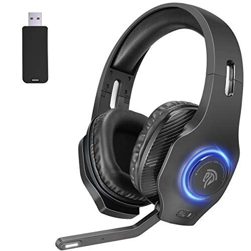 EasySMX - Cuffie senza fili per PC PS4 PS5, 2,4 G, cuffie da gaming, senza fili, con microfono Virtuel 7.1, suono surround RGB LED per PS5 PS4 PC Laptop Tablet MacBook iMac