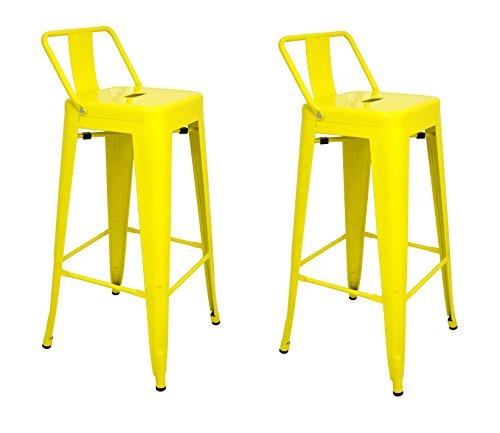 La Silla Española - Pack 2 Taburetes estilo Tolix con respaldo. Color Amarillo. Medidas 95x44,5x44,5