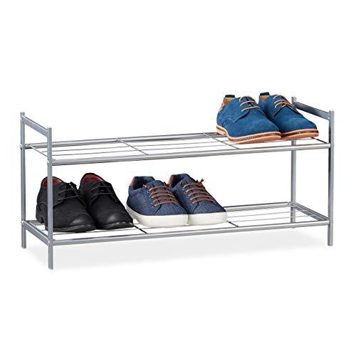 Relaxdays Schuhregal Sandra-Zapatero (2 Niveles, para 6 Pares de Zapatos, Metal, Altura Aprox.: 33,5 x 69,5 x 26 cm, Color Plateado, Plata, 1 Unidad