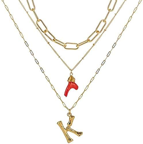 Collar, collar con inicial, oro, bambú, letra, iniciales, nombre, collares, colgante de coral rojo, cadena de eslabones para mujer, regalo de cumpleaños