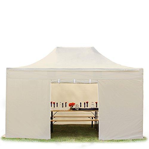 TOOLPORT Faltpavillon Faltzelt Premium NEO 3x4,5m - ohne Fenster ALU Pavillon Partyzelt Dach 100{a0d27bca1e320933d85c7f8fe30d5348d8cded9c218f3d0ef44cb242510c6326} WASSERDICHT Creme