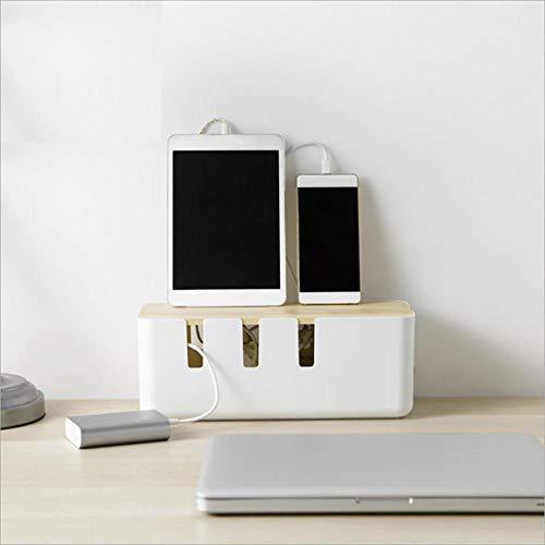 Brandnews Kabelbox, 12 x 5 x 4,5 cm, houten deksel, kabel-organizer voor bureau, tv, computer, USB-hub-systeem voor het afdekken en verstoppen en voor stekkerdozen en kabels