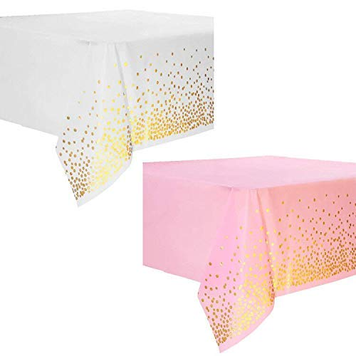 KingYH 2 Piezas Manteles de Plástico Desechables 137 x 274 cm Manteles Rectangulares para Fiestas con Confeti de Puntos Dorados para Fiestas Picnics Bodas Cumpleaños Decoración de Mesa-Rosa y Blanco