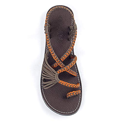 Plaka Palm Leaf Flat Summer Sandals for Women | Perfect for The Beach Walking & Dressy Occasions | Orange Gray | Size 9