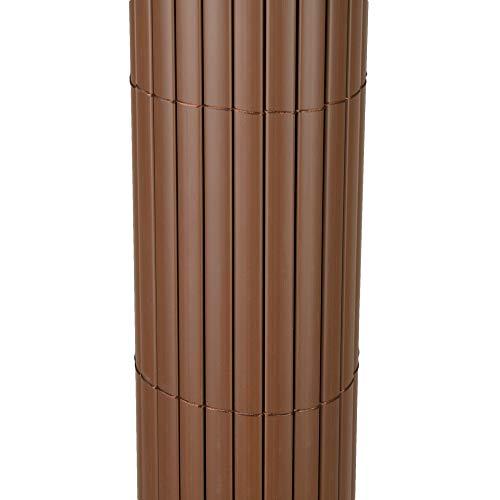 TOP MULTI PVC Sichtschutz-Matte für Balkon/Garten 1m x 4m in Makassar Braun | Sichtschutz-Zaun inkl. Befestigung + wetterfest | Windschutz-Matte | Blende | Blickschutz-Zaun | Balkon-Verkleidung