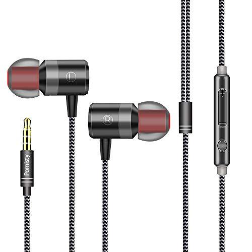 Auriculares in-Ear con micrófono,2019 Nuevo Pomisty Auriculares con Cable Aislamiento de Ruido Sonido Estéreo 3.5mm Sonido Puro para iPhone,iPad,Andriod Smartphone, Reproductores de MP3 y más