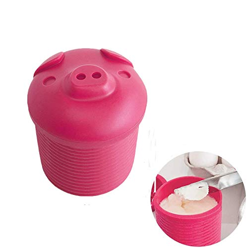 BaconGreaseContainer Pig Bacon Grease Holder with Mesh Strainer DustProof Lid for Kitchen Storing Frying Oil amp Cooking Grease Storage Silicone Pink