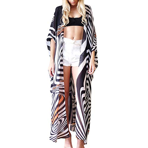 LAEMILIA Damen Cardigan Beach Bikini Cover up Summerkleid Strand Mantel Fantasie Geprinted mit Quasten Langarm Maxi Kimono