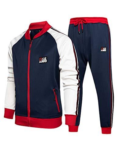 COOFANDY Men's Activewear Full Zip Warm Up Tracksuit Sports Set Casual Sweat Suit Comfy Sweatsuits Black, X-Large