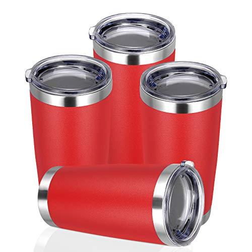 PEIZI Vaso de 20 oz con tapa, de acero inoxidable de doble pared aislado al vacío, taza de café duradera con recubrimiento en polvo, rojo, 4 unidades