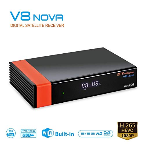GT MEDIA V8 NOVA DVB-S2 HD 1080P TV Satellite Receiver Free to Air Sat Decoder Digital FTA Receptor Built-in WiFi Support CC CAM IP TV YouTube PVR Ready PowerVu Biss Key New cam