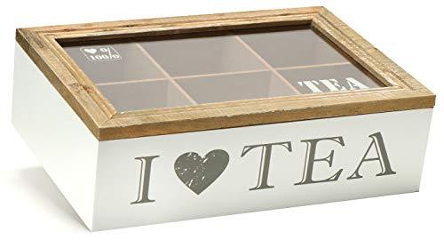 com-four® Aufbewahrungsbox für Teebeutel - weiße Tee-Box aus Holz mit braunem Deckel - mit 6 Fächern und Sichtfenster aus Glas (1 Stück - 6 Fächer)